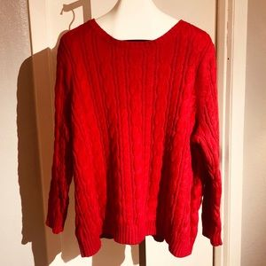 LANDS END red cable knit sweater sz 2X